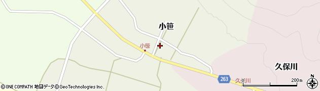 山形県上山市小笹周辺の地図