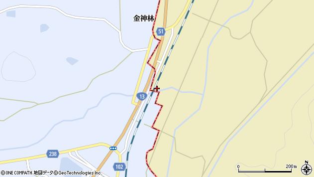 山形県上山市中山金神林周辺の地図