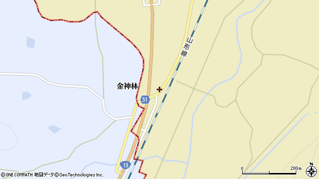 山形県上山市中山142周辺の地図