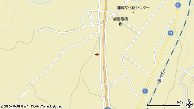 山形県上山市中山708周辺の地図