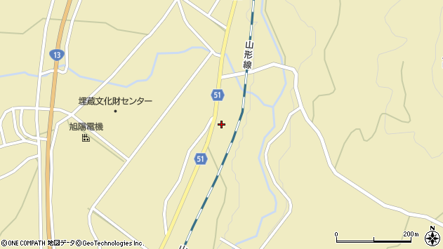 山形県上山市中山1241周辺の地図
