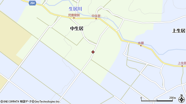 山形県上山市中生居42周辺の地図