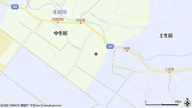 山形県上山市中生居8周辺の地図