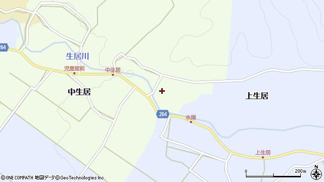 山形県上山市中生居123周辺の地図