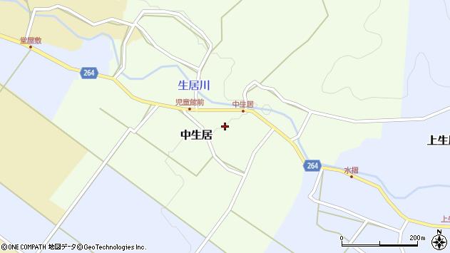 山形県上山市中生居53周辺の地図