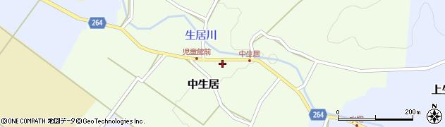 山形県上山市中生居周辺の地図