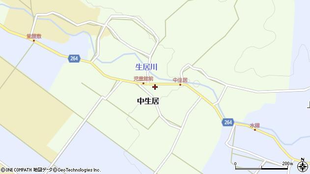 山形県上山市中生居戸ノ内周辺の地図