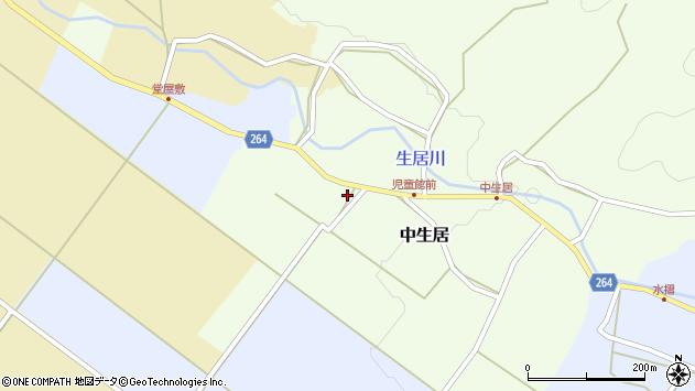 山形県上山市中生居608周辺の地図