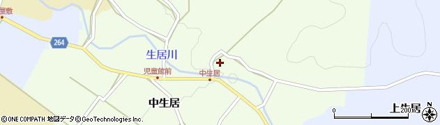 山形県上山市中生居102周辺の地図