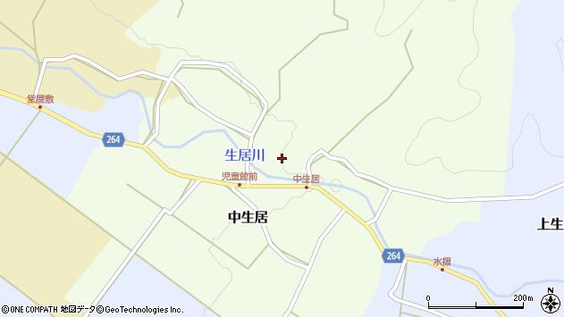 山形県上山市中生居97周辺の地図