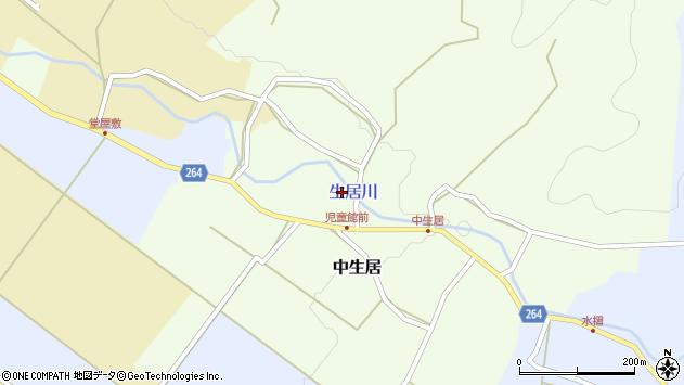 山形県上山市中生居82周辺の地図