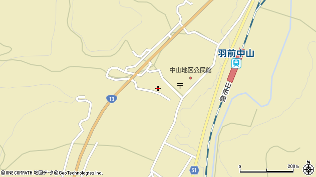 山形県上山市中山3207周辺の地図