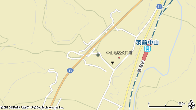 山形県上山市中山3228周辺の地図