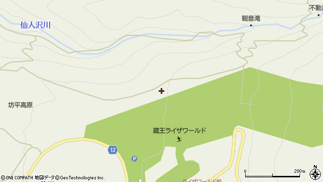 山形県上山市蔵王坊平高原周辺の地図