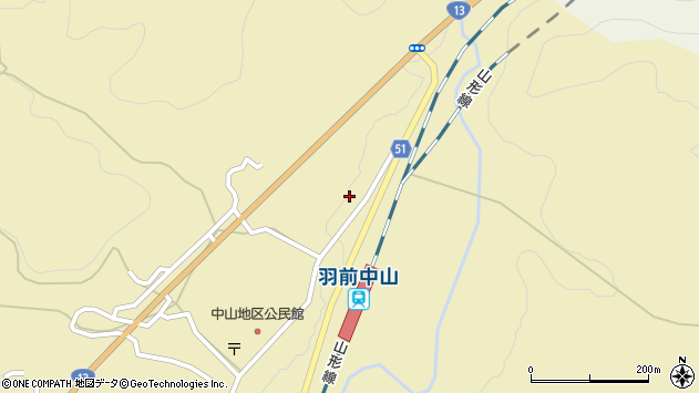 山形県上山市中山3539周辺の地図