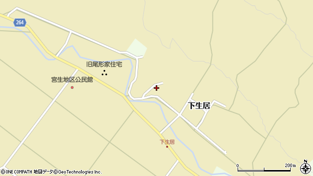 山形県上山市下生居154周辺の地図