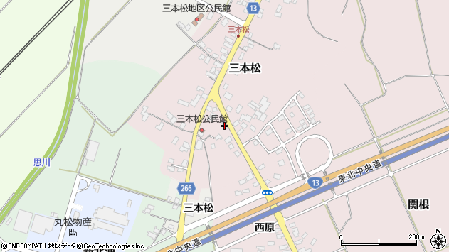 山形県上山市三本松74周辺の地図