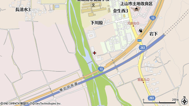 山形県上山市宮脇下川原712周辺の地図
