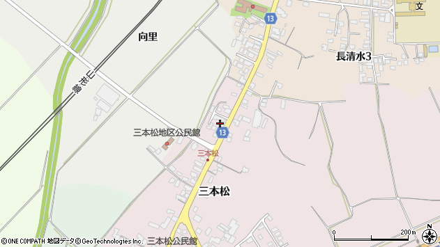山形県上山市三本松56周辺の地図