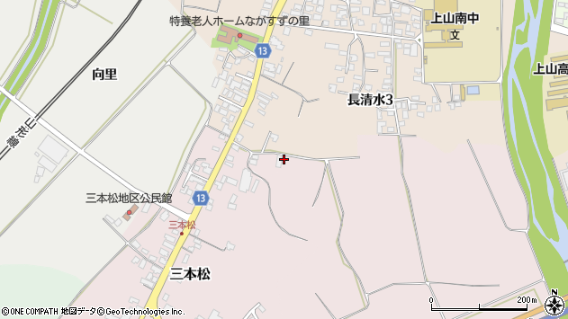 山形県上山市三本松104周辺の地図
