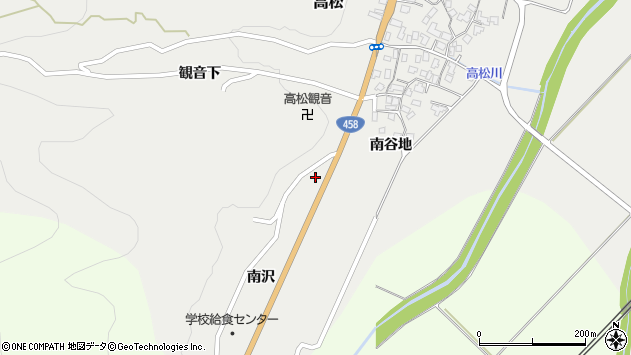 山形県上山市高松1172周辺の地図