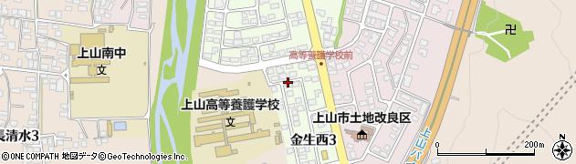 山形県上山市金生西3丁目周辺の地図