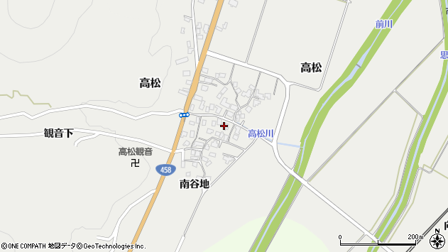 山形県上山市高松91周辺の地図