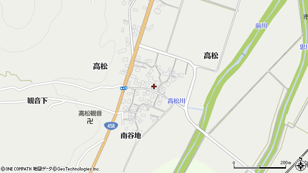 山形県上山市高松105周辺の地図