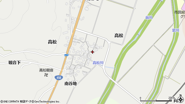 山形県上山市高松98周辺の地図