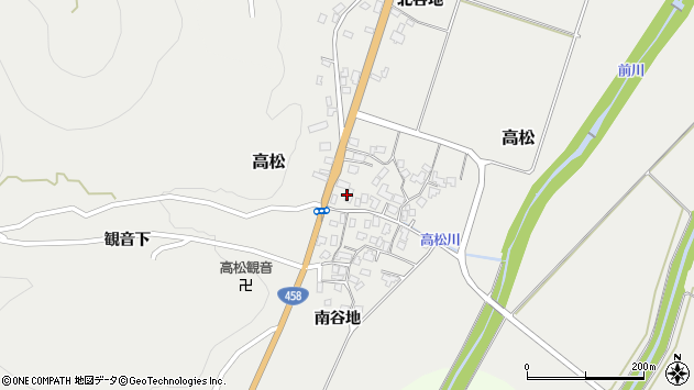 山形県上山市高松114周辺の地図