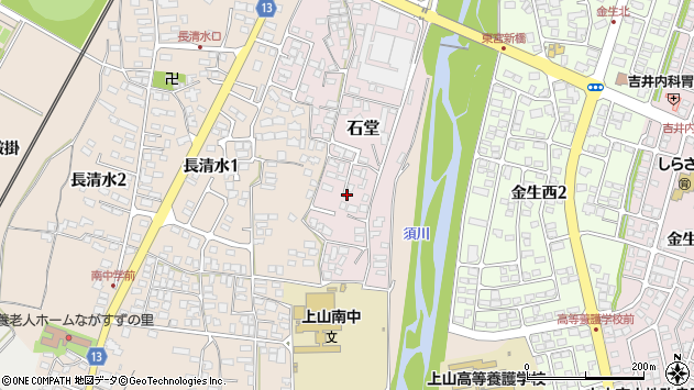 山形県上山市石堂7周辺の地図