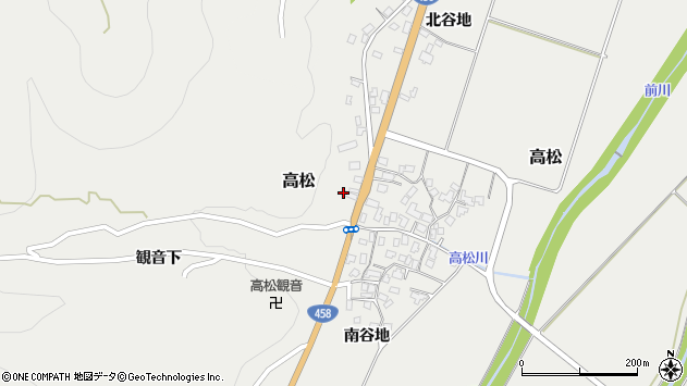 山形県上山市高松119周辺の地図