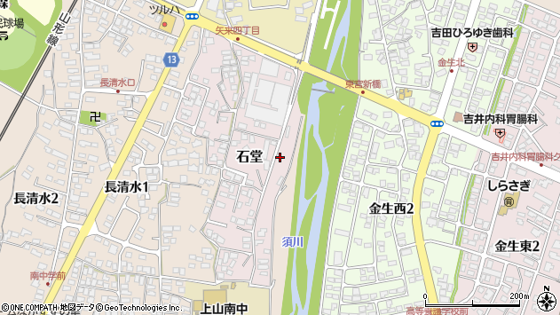 山形県上山市石堂4周辺の地図