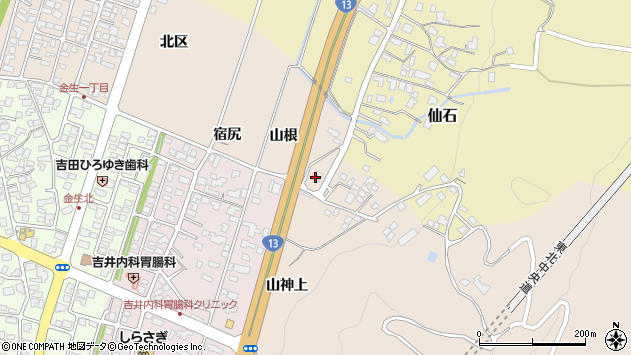 山形県上山市金生155周辺の地図