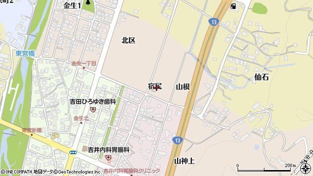 山形県上山市金生宿尻周辺の地図