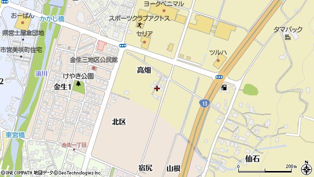 山形県上山市仙石高畑879周辺の地図