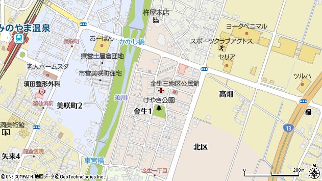 山形県上山市金生周辺の地図