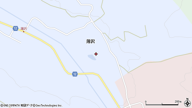 山形県上山市高野薄沢3周辺の地図