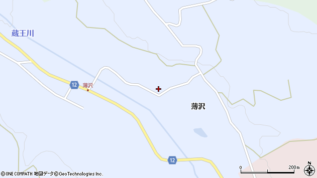 山形県上山市高野薄沢196周辺の地図