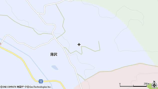 山形県上山市高野薄沢8周辺の地図
