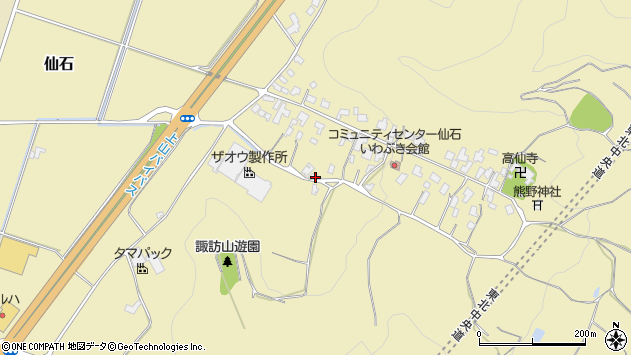 山形県上山市仙石大沢周辺の地図