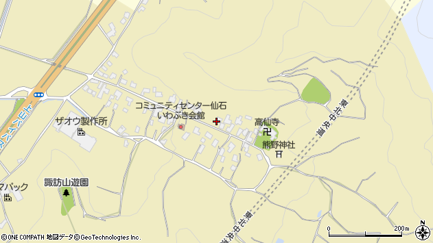 山形県上山市仙石15周辺の地図