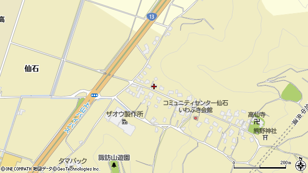 山形県上山市仙石44周辺の地図