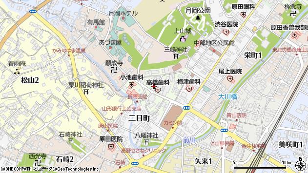 山形県上山市沢丁周辺の地図