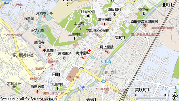 山形県上山市十日町4周辺の地図