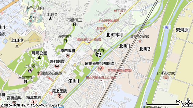 山形県上山市北町本丁1周辺の地図