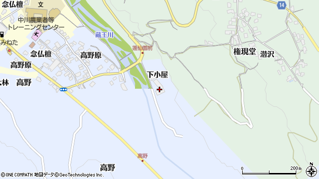 山形県上山市高野下小屋周辺の地図
