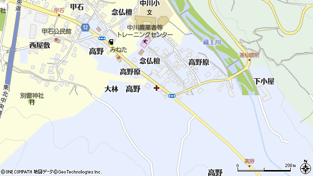 山形県上山市高野高野原318周辺の地図