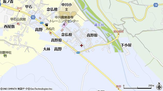 山形県上山市高野念仏檀112周辺の地図