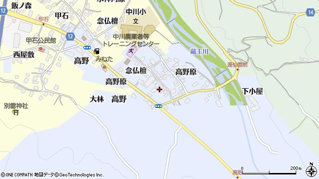 山形県上山市高野念仏檀113周辺の地図